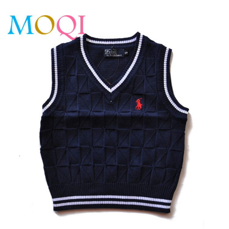 2015 winter fashion children horse sweater boys cotton children's knitted sweater patterns polo vest 12M-6T plus size hot sale(China (Mainland))