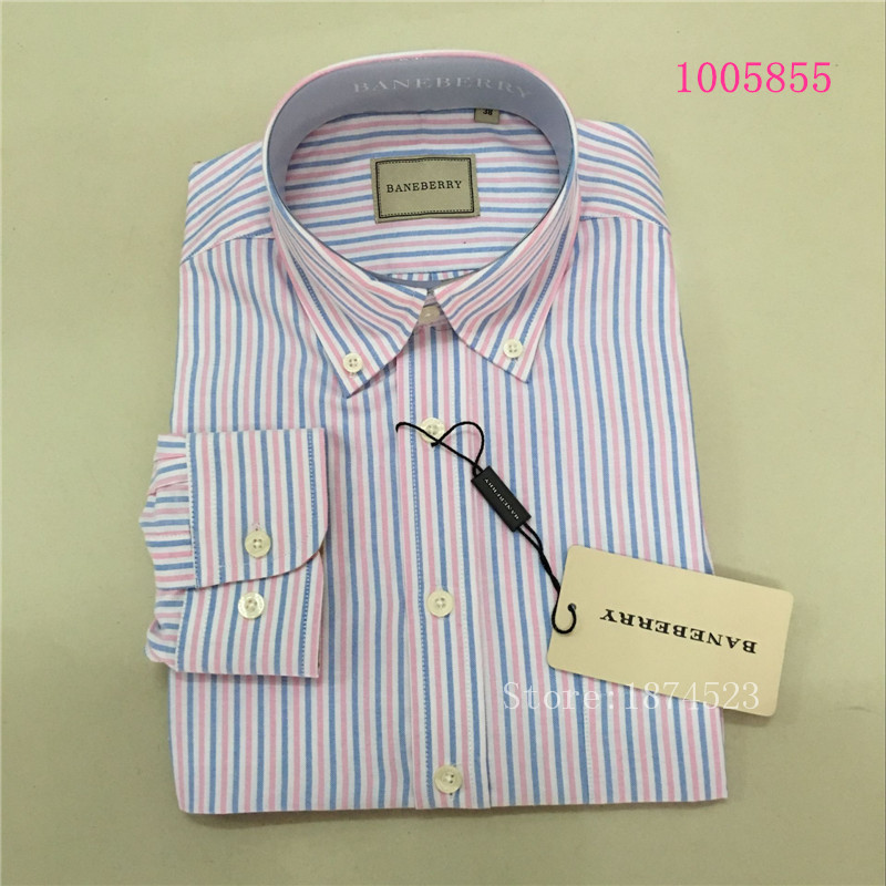 Baneberry famous brand casual men's long-sleeved oxford shirt Slim plaid cotton shirt fashion men free shipping Plus size XS-3XL(China (Mainland))