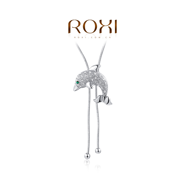 ROXI 18k gold plated women crystal cute dolphin sweater chian necklaces (2 colors white plated) - international trading LTD ( and retail store)