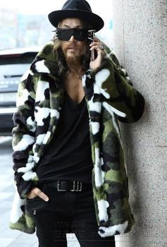 2015 New style Faux Fur Men's rabbit fur coat Korean version Camouflage warm coat in the long section/Free shipping