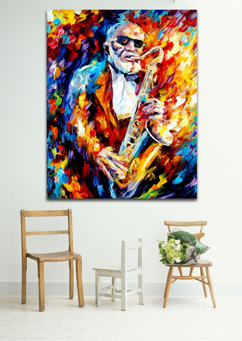 Jazz Music Saxophone Musician 100% Handpainted Palette Oil Painting Canvas Music Instrument Art for Home Office Hotel Decor(Hong Kong)
