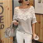 Plus Size S-5XL 2015 New Fashion Women Lace Blouse Shirt Ladies Casual Summer Tops Hollow Crochet Shawl Collar Sheer Blouses
