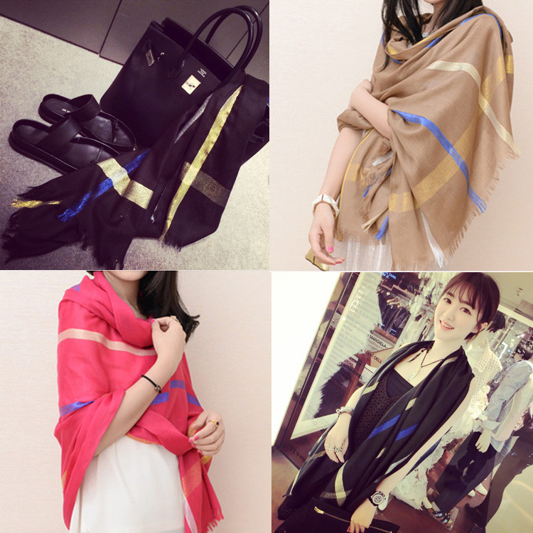 2015 new scarf women shawl silk Plaid cotton fringed scarf wholesale brand scarf 190*90cm agw(China (Mainland))