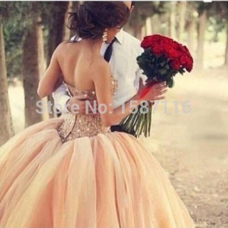 Dreamy Vintage Coral Pink Cinderella Wedding Dresses Strapless Crystal Sequin Ball Gownglamours