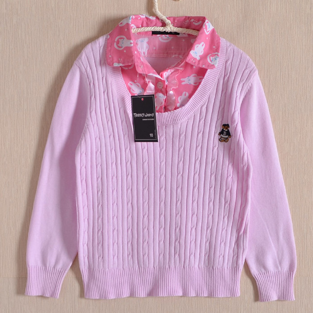 Bear faux two piece 100% line long-sleeve cotton shirt V-neck pink sweater thin spring and autumn female basic child baby