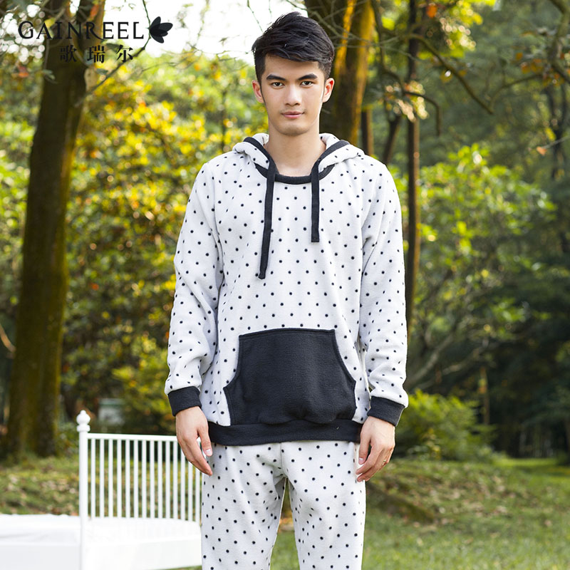 Long sleeved hooded fleece song Riel fashion wave point men s pajamas home service package legend