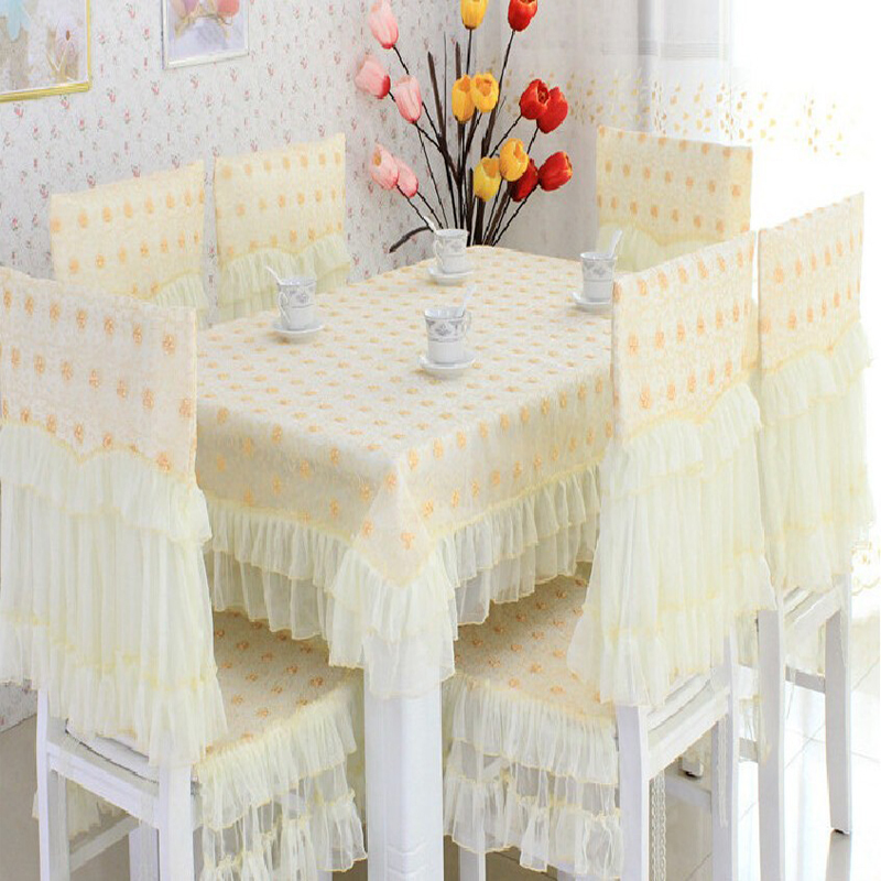 Embroidery Tablecloth Dining Chair Covers Luxury Table Linens Nappe De Table Wedding Light Yellow Home Textile(China (Mainland))