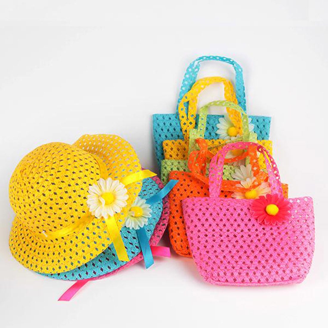 Summer Sun Hat Girls Kids Children Beach Hats Bags Flower Straw Hat Cap Tote Handbag Bag Suit 9 Colors(China (Mainland))