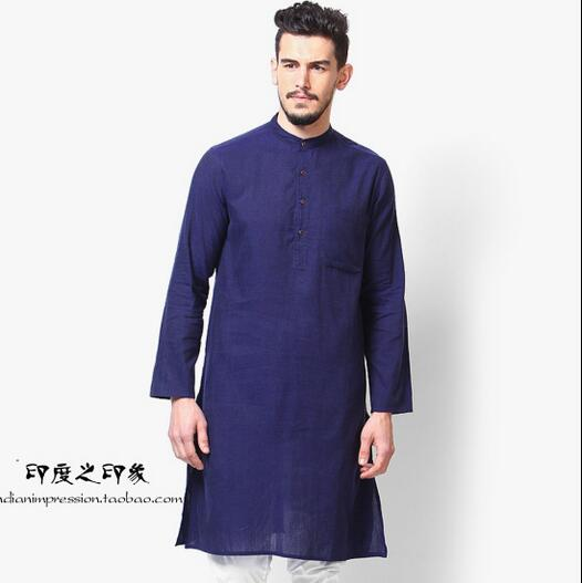 Indian men's casual long-sleeved gown Ethnic split gown Traditional indian clothing(China (Mainland))
