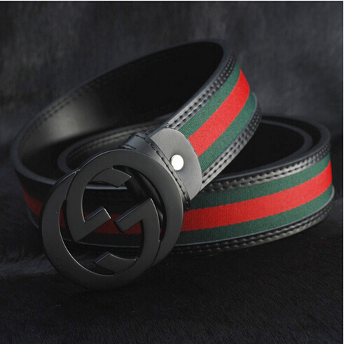 Free shipping!Fashion classic luxury designer belts men letter G red green canvas belts Genuine leather men casual waist belt(China (Mainland))