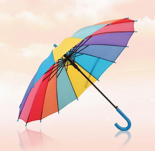 Creative Rainbow Children Umbrella Rain UV Protection Long Handle Kids Umbrella(China (Mainland))