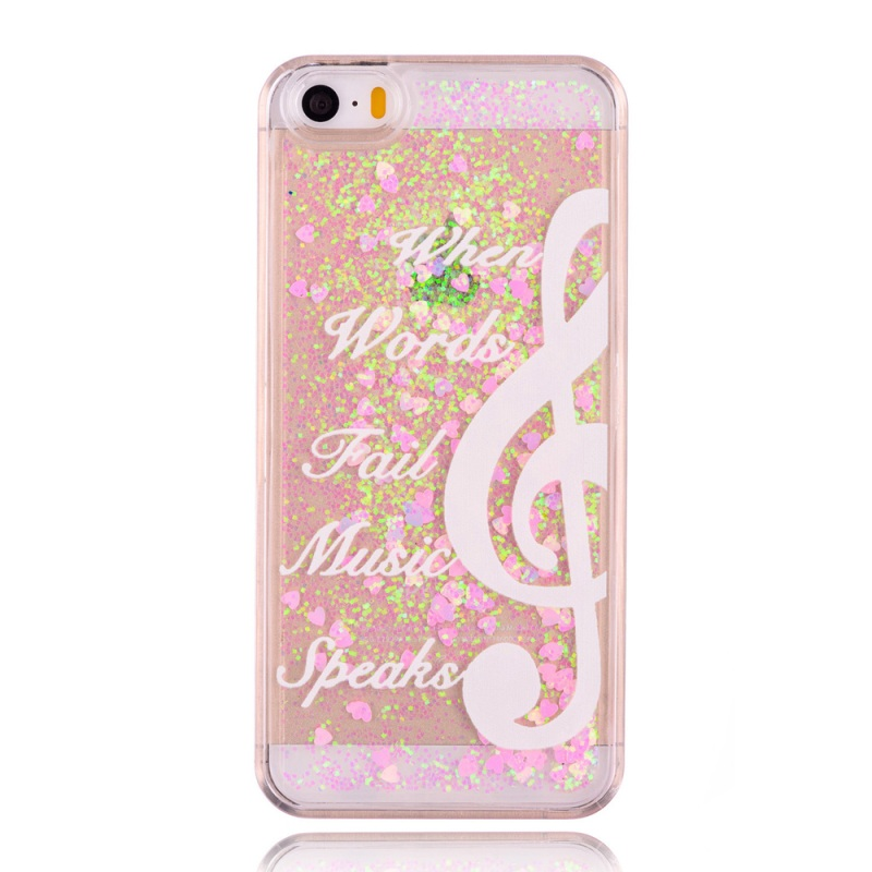 capa coque funda iPhone 5s Hard Cases Flowing Powder & Hearts PC Phone Case iPhone 5s 5 Music Note & Quote