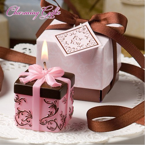 Gift box shaped candle baby shower baptism party favor children gift present birthday valentine day wedding favour(China (Mainland))