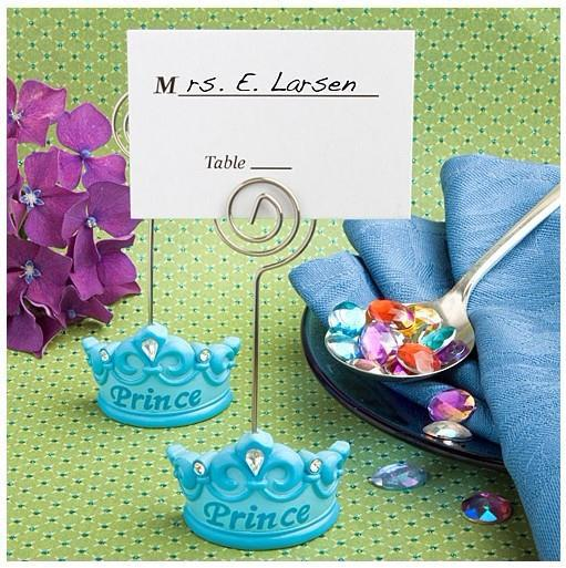 FREE SHIPPING+Baby Favors Blue Crown Themed Princess Place Card Holder +100pcs/LOT+Very Good For Baby Shower(China (Mainland))