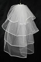 Four Layer White Bridal Veil White Beaded Wedding Veil Simple And Cheap Bridal Veils 2016 V1(China (Mainland))