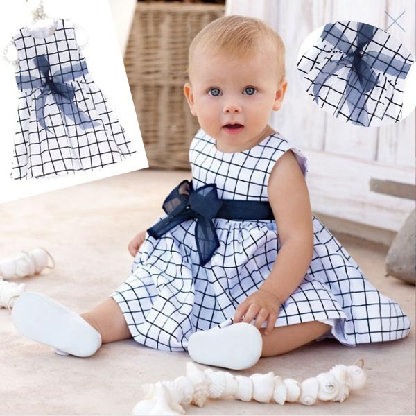 Baby Toddler Girl Kids Cotton Outfit Clothes Top Bow-knot Plaids Dress 0-3 Year(China (Mainland))