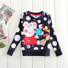 2016 spring autumn 18m/6y kids cotton tees children's clothing thick embroidery peppy pig long sleeve T-shirts for baby girls