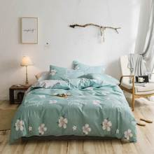 Svetanya Cotton Bedding Set Leaves printing flat sheet pillowcase Duvet Cover Linen sets(China)