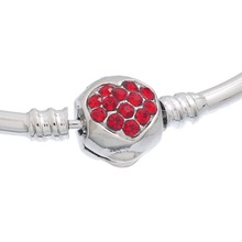 Multicolor Rhinestone Heart Copper European Charm Bracelets Bangle Women Bangles Fit Large Hole Beads Charms 1PC(China (Mainland))
