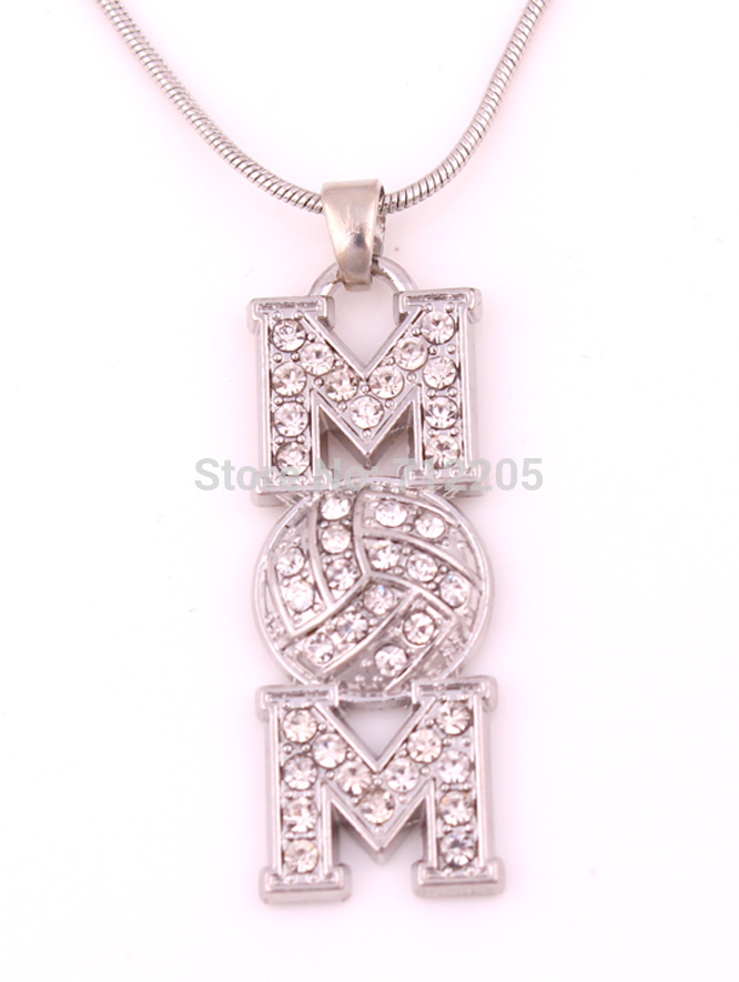 New product 30pcs zinc alloy rhodium Volleyball Mom Pave clear Crystal sports Pendant chain necklaces(China (Mainland))