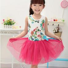 Summer Beautiful Kids Bowknot Tutu Flower Party Princess Tulle Dress Baby Girl Clothes