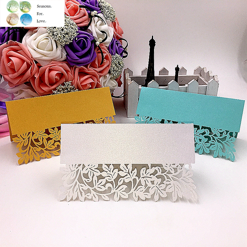 40pcs flower Laser Party Table Name Place Cards wedding table decoration wedding favors and gifts party