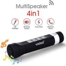 VODOOL USB Power Bank Bluetooth Speaker Bright LED Flashlight SOS WAV MP3 Music Player with 2200 mAh Mobile Power 3W ISP(China (Mainland))