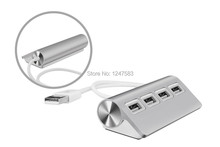 Free Shipping 2014 New USB 2.0 Hub 4 Port Aluminum with USB Cable for Laptop PC