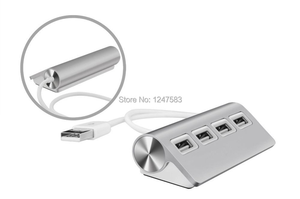 Free Shipping 2014 New USB 2.0 Hub 4 Port Aluminum with USB Cable for Laptop PC(China (Mainland))