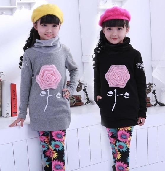 Осень - зима девочки-младенцы роза цветок длинный рукав хлопок шерсть футболки дна рубашка / дети топы одежда