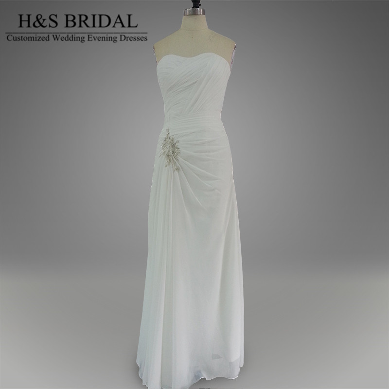 Real Model Summer Beach Bridal Dress Long Chiffon White