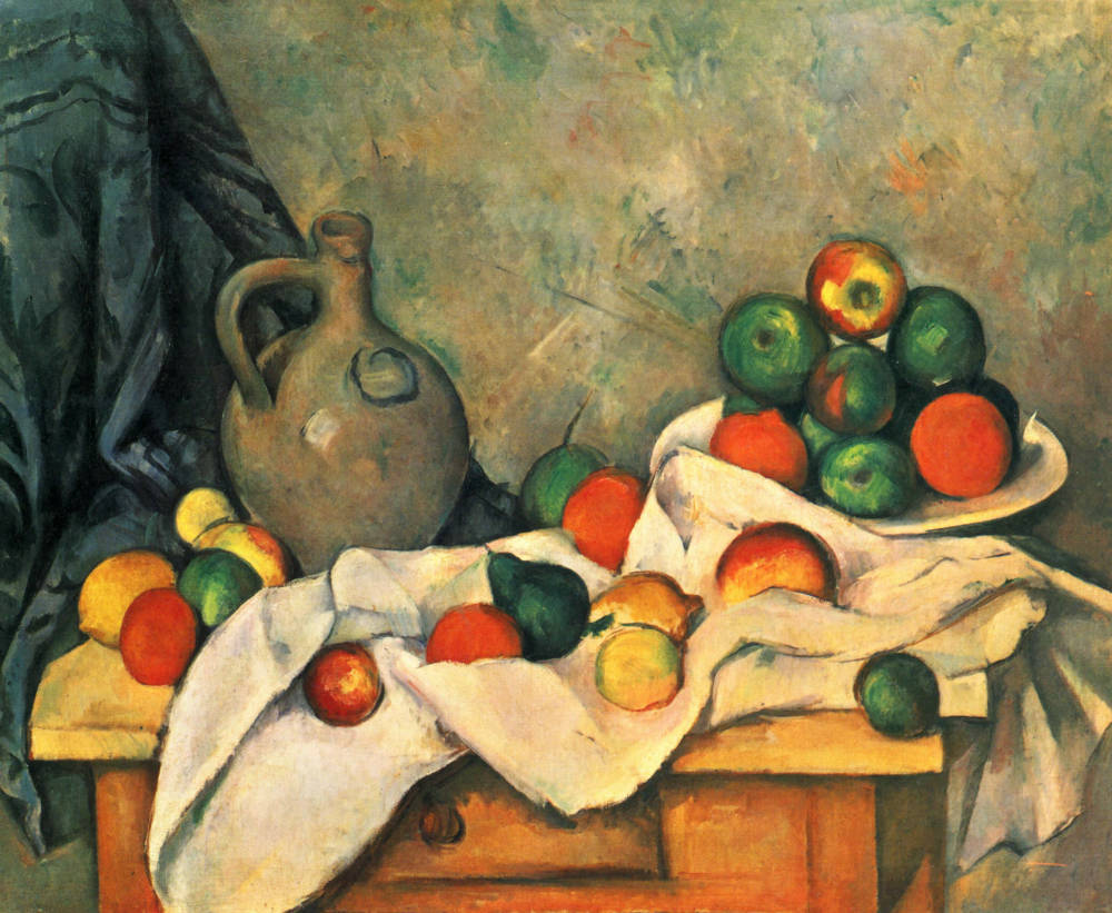 Drapery, Pitcher and Fruit Bowl Post-Impressionist Paul Cezanne Still Life Painting Canvas Prints Home Goods Wall Art Decoration(China (Mainland))