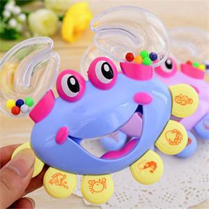 New 2014 Practical Baby Toy Plastic Cute Rattles for Babies Crab Shape Baby Handbell Shaking Rattle(China (Mainland))