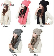 Autumn and Winter Thermal Women's Hat Scarf Set Fashion Knitted Beanies and Scarves 5 Colors(China (Mainland))