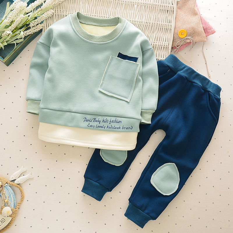 Unique patchwork Boy Girl clothing sets spring Baby Sets fleece cotton boy tracksuits winter Kids sport suits sweatshirts+pants(China (Mainland))