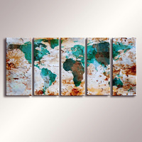 World Map painting Oil Painting  100% Hand Painted Modern Wall Art Painting ,Abstract  oil painting WM-002