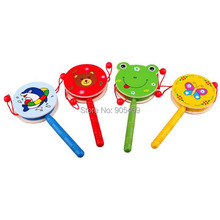 Funny Wooden Baby Toy Rattle Drum Developmental Toy Gift Hand Bell Music Toys Educational Toys(China (Mainland))