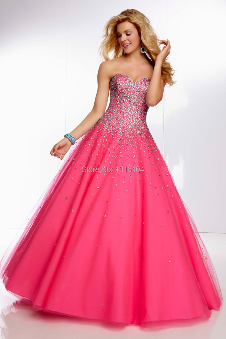 Pink colored prom dresses