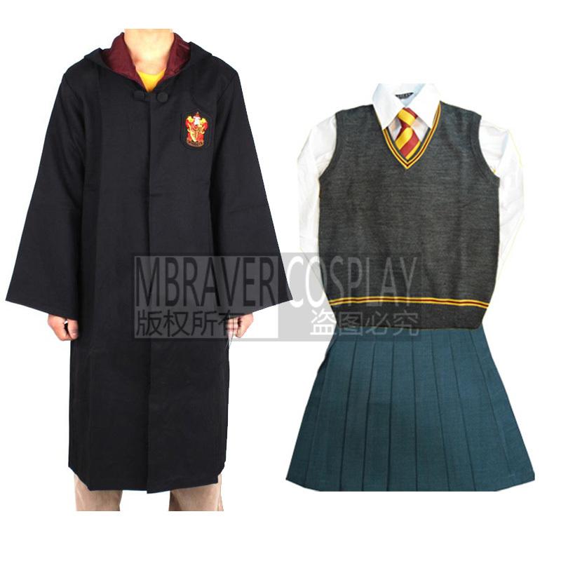harry potter gryffondor hermione granger cosplay robe jupe uniforme baguette custom made dans. Black Bedroom Furniture Sets. Home Design Ideas