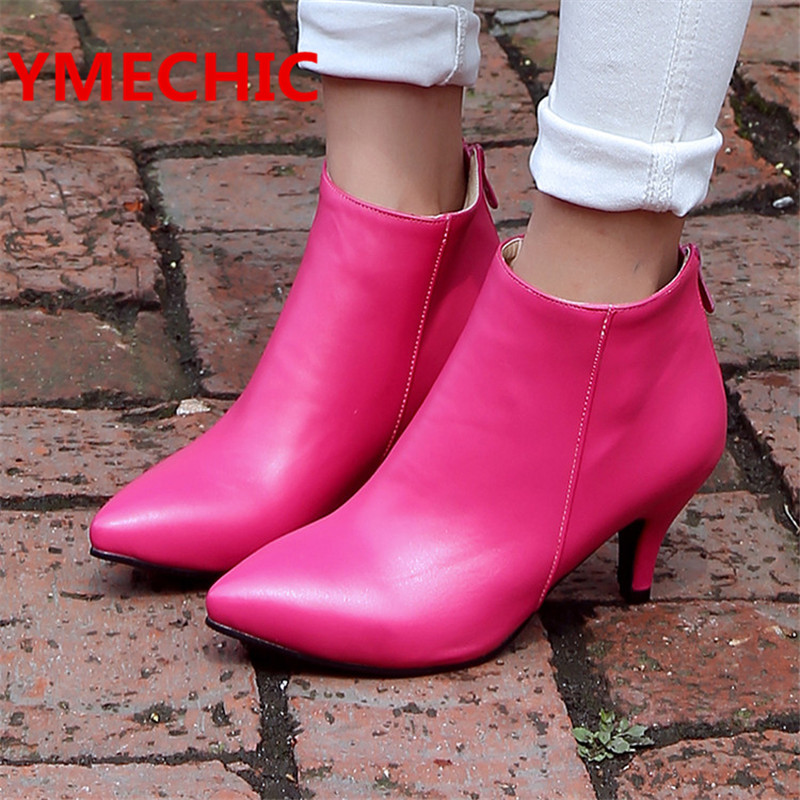 YMECHIC Autumn Pink Black Beige Large Size Shoes Women High Heel Ankle Boots Concise Sexy Leather Lady Thin Med Heels Pumps Boot(China (Mainland))