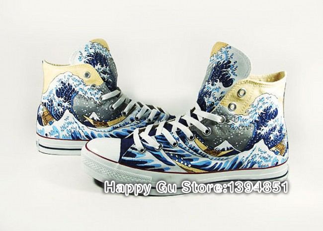 Great Wave off Kanagawa Hand Painted Casual Shoes Canvas Flat Sneeakers for Mem Women DIY