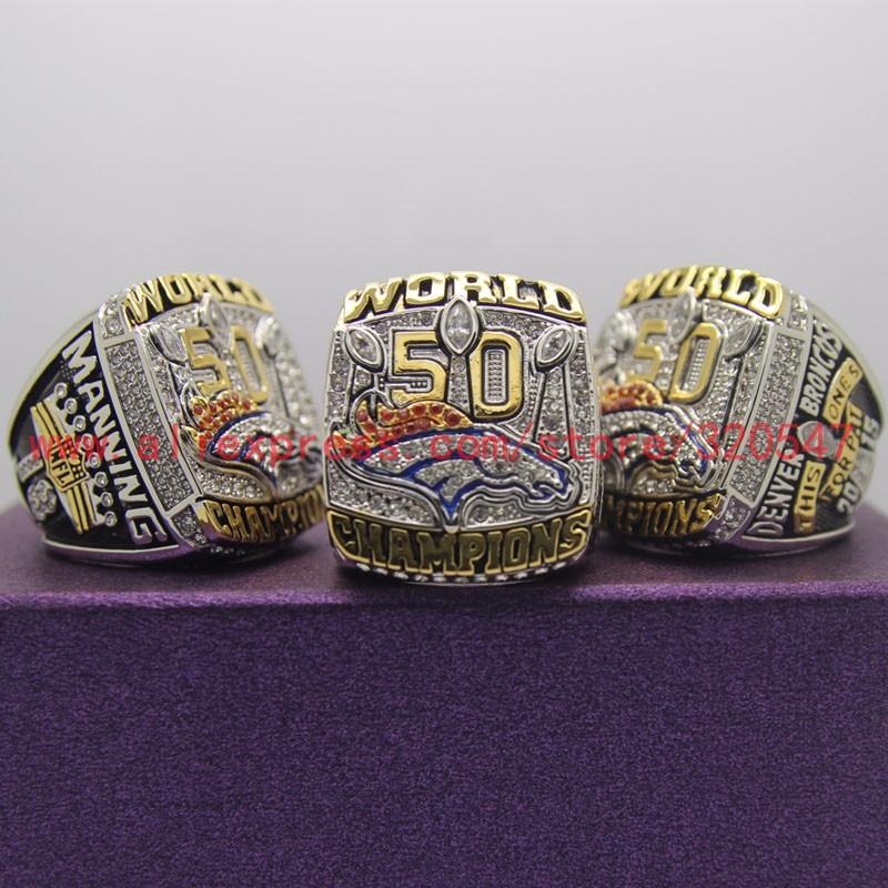 2015 2016 Denver Broncos 50 Championship Ring Replica Super Bowl Football Rings Size 8-14 USA Men MANNING Fan Gift HC50(China (Mainland))