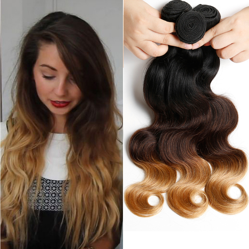 Grace hair Company 3pcs1B/4/27 Ombre brazilian Virgin Hair body wave Ombre hair Weave bundles blonde color ombre hair extension<br><br>Aliexpress
