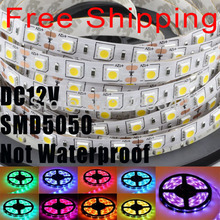 Free shipping 10m/lot 5050 5m 10m 300 led strip light 12v No waterproof 5050 60leds/m cool blue RGB red green yellow warm white(China (Mainland))