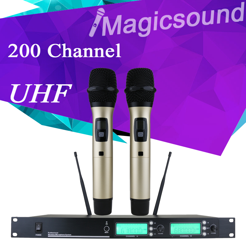 200 adjustable Channel !! 500-700MHz !! Gold Color Dual Handheld Wholel Metal UHF Wireless Microphone Mic System for Karaoke KTV(China (Mainland))