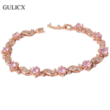GULICX 2016 18cm Vintage Bracelets for Women Bling Charming Jewelry Fashion 18k Gold Plated Eye-catching Crystal Bracelet L104(China (Mainland))