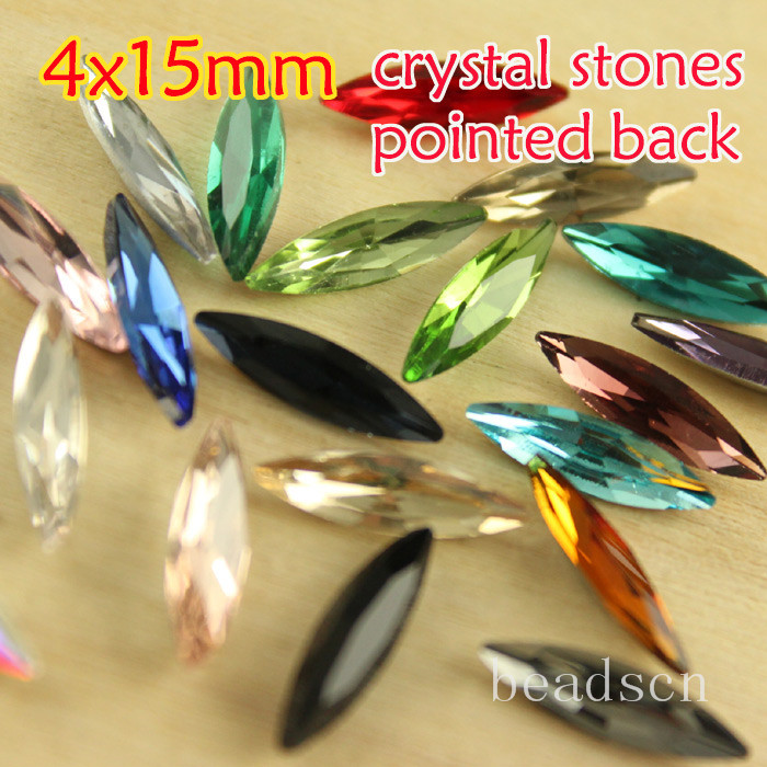 4x15mm navette 30pcsl point back foiled fancy crystal glass stones Rhinestone Strass diy shoes Dress jewelry making(China (Mainland))