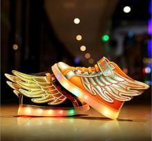 ילדי אופנה סניקרס led ילדי נעליים עם אורות LED USB טעינת תינוק בני בנות נעלי ספורט Chaussure Enfant(China)