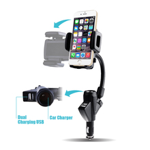 Universal Car Cigarette phone holder Mount Stand Dual USB Charger Cradle For iPhone Samsung Galaxy Note 5 A8 Lenovo Acer(Hong Kong)