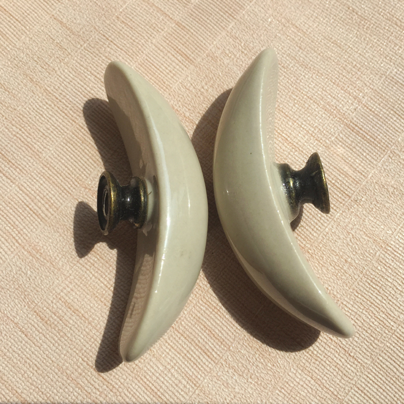 65mm Large Retro Moon Light Grey Ceramic Knobs Pulls Kitchen Cabinet